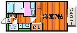岡山県岡山市北区横井上の賃貸アパートの間取り
