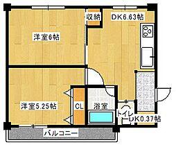 大淀ハイツ[6階]の間取り