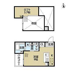 愛知県名古屋市中村区二瀬町の賃貸アパートの間取り