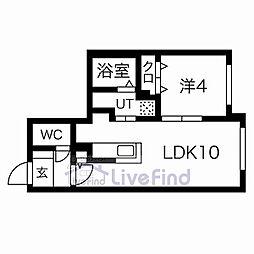 札幌市営東西線 菊水駅 徒歩8分の賃貸マンション 4階1LDKの間取り