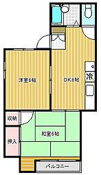 コーポ富士[3階]の間取り