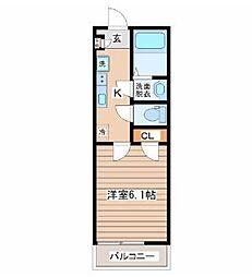 サニープレイス仙台東口 2階1Kの間取り