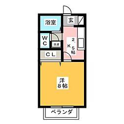 サンfriendsフロント B[1階]の間取り