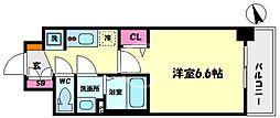 プレサンスOSAKA DOMECITYスクエア 9階1Kの間取り