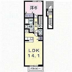 泉北高速鉄道 泉ヶ丘駅 徒歩23分の賃貸アパート 2階1LDKの間取り
