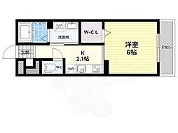 仮 大藤産業株式会社アパート 2階ワンルームの間取り