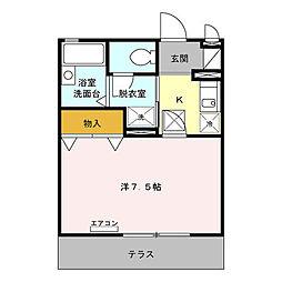 東京都江戸川区北葛西1丁目の賃貸アパートの間取り