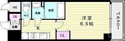 プレサンス神戸キュリオ 14階1Kの間取り