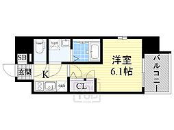 エスリード京橋桜ノ宮公園 3階1Kの間取り