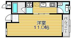 京阪本線 西三荘駅 徒歩18分の賃貸マンション 1階ワンルームの間取り
