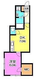 西武池袋線 秋津駅 徒歩15分の賃貸アパート 1階1DKの間取り