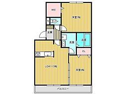 兵庫県神戸市垂水区塩屋台3丁目の賃貸アパートの間取り