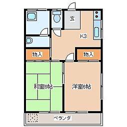 つきやマンション[303号室]の間取り