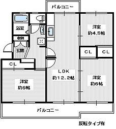 ヴィラナリー狭山 8号棟[303号室]の間取り