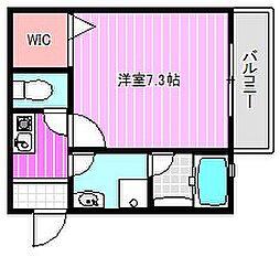 近鉄橿原線 田原本駅 徒歩5分の賃貸アパート 2階1Kの間取り