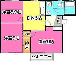 埼玉県所沢市若松町の賃貸アパートの間取り
