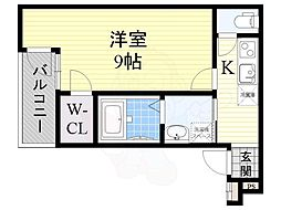 フジパレス住吉沢之町3番館 2階1Kの間取り