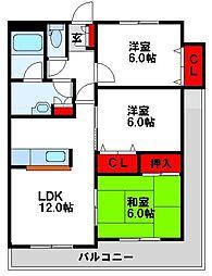 カスティール東郷 6階3LDKの間取り