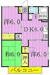 千葉県柏市みどり台5の賃貸アパートの間取り