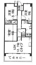 兵庫県尼崎市武庫元町2丁目の賃貸マンションの間取り