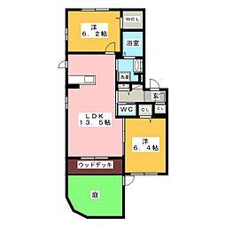 アンヴェリール飯野 1階2LDKの間取り