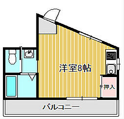神奈川県川崎市中原区上小田中2丁目の賃貸アパートの間取り