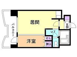 札幌ビオス館 13階1DKの間取り