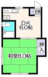 東京都西東京市富士町1丁目の賃貸アパートの間取り