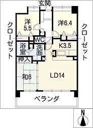 ポレスター白子駅前603号[6階]の間取り