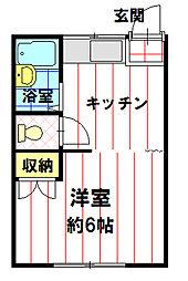 コーポ岡田 C棟[102号室]の間取り