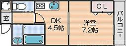 Osaka Metro四つ橋線 花園町駅 徒歩5分の賃貸マンション 3階1DKの間取り