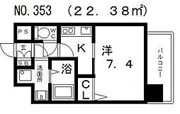 クレアートクラウン天王寺[5階]の間取り