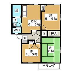 テクノハイツ藤 A[2階]の間取り