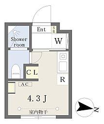 西武新宿線 下落合駅 徒歩2分の賃貸マンション 2階ワンルームの間取り