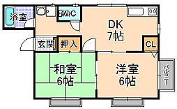 兵庫県伊丹市東野1丁目の賃貸アパートの間取り