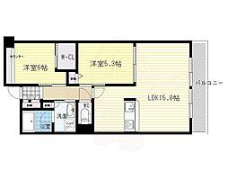 北大阪急行電鉄 千里中央駅 徒歩11分の賃貸マンション 5階2LDKの間取り