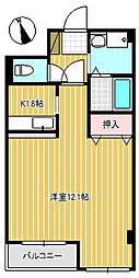 ゴールデンシャトー加賀[308号室]の間取り