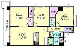 福岡市地下鉄空港線 福岡空港駅 バス18分 堤ヶ浦下車 徒歩4分の賃貸マンション 6階3LDKの間取り