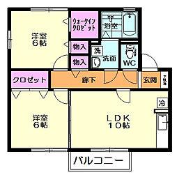 セジュールERI B棟[203号室]の間取り