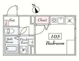 仮)SANPOHSO 1階ワンルームの間取り