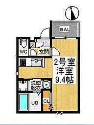 愛知県名古屋市中川区月島町の賃貸アパートの間取り