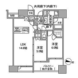 シティタワー梅田東 7階2LDKの間取り
