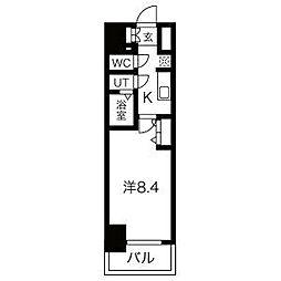名古屋市営鶴舞線 浅間町駅 徒歩5分の賃貸マンション 14階1Kの間取り