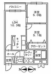 北海道函館市人見町の賃貸マンションの間取り