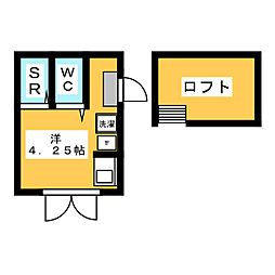 フレシール笹塚A 2階ワンルームの間取り
