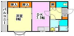 リーベンハイム中野木A[2階]の間取り