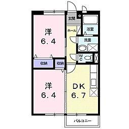 滋賀県甲賀市水口町名坂の賃貸アパートの間取り
