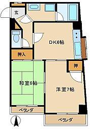 JR中央線 武蔵小金井駅 徒歩2分の賃貸マンション 6階2DKの間取り