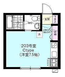タスティ阪東橋[203号室]の間取り