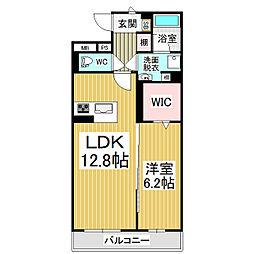 JR篠ノ井線 広丘駅 徒歩21分の賃貸マンション 1階1LDKの間取り